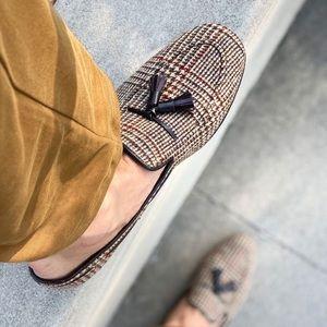 NWT KFG Tweed Tassel Loafers